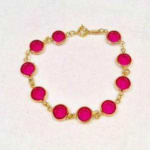 Swarovski Bezel Set Fuschia Crystal Bracelet
